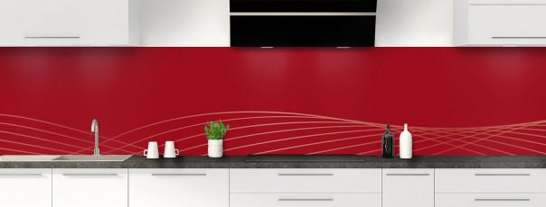 Crédence de cuisine Courbes couleur rouge carmin panoramique