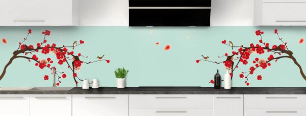 Crédence de cuisine Cerisier japonnais couleur vert pastel panoramique motif inversé