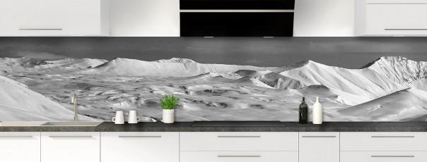Crédence de cuisine Montagnes enneigées Noir et blanc panoramique motif inversé