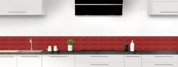 Crédence de cuisine Briques en relief couleur rouge carmin dosseret