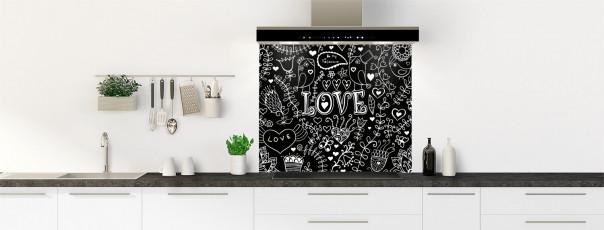 Crédence de cuisine Love illustration couleur noir fond de hotte