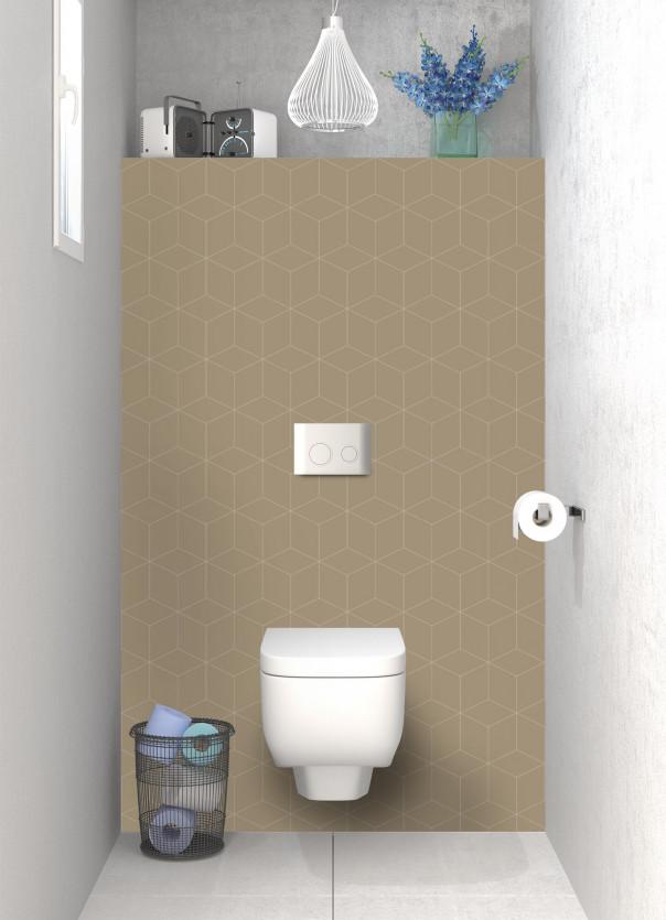 Panneau WC Cubes en relief couleur marron glacé