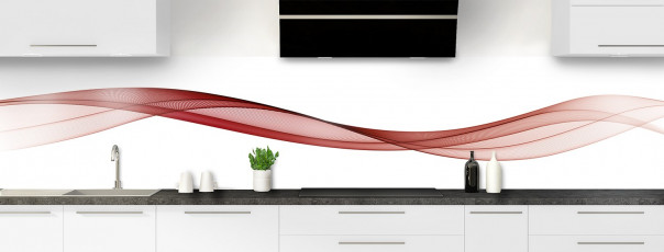 Crédence de cuisine Vague graphique couleur rouge carmin panoramique