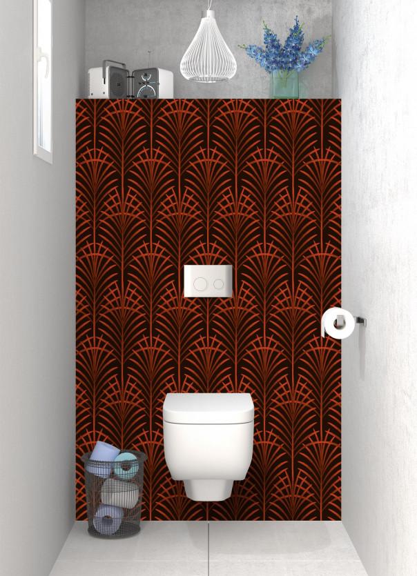 Panneau WC Feuilles de paume couleur rouge brique