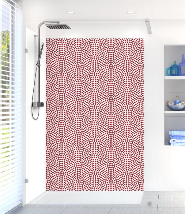 Panneau de douche Mosaïque petits cœurs couleur rouge pourpre