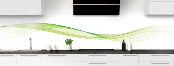 Crédence de cuisine Vague graphique couleur vert olive panoramique