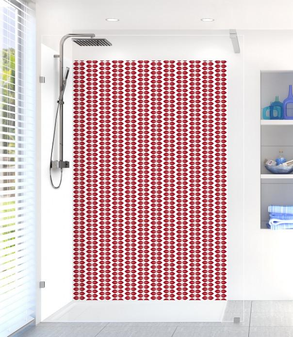 Panneau de douche Petites Feuilles  couleur rouge carmin