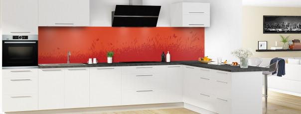 Crédence de cuisine Prairie et papillons couleur rouge brique panoramique motif inversé en perspective