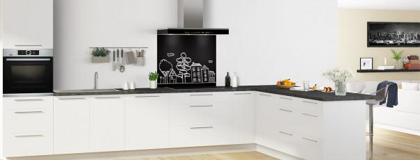 Crédence de cuisine Dessin de ville couleur noir fond de hotte en perspective