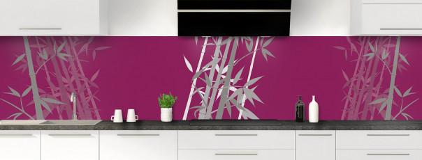 Crédence de cuisine Bambou zen couleur prune panoramique