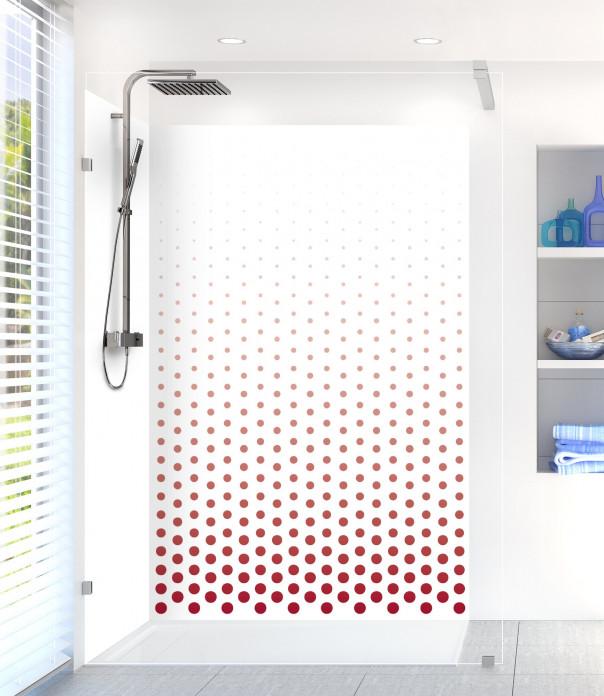 Panneau de douche Pluie de points couleur rouge carmin