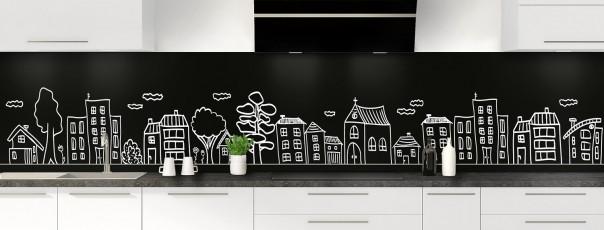 Crédence de cuisine Dessin de ville couleur noir panoramique