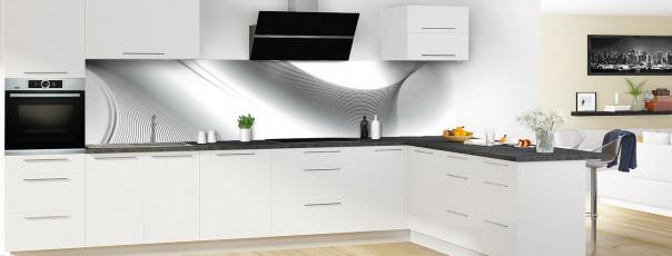 Crédence de cuisine Volute couleur blanc panoramique motif inversé en perspective