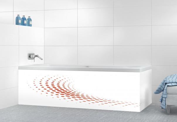 Panneau tablier de bain Nuage de points couleur rouge brique motif inversé