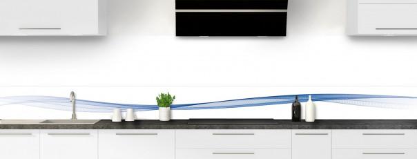 Crédence de cuisine Vague graphique couleur bleu lavande dosseret motif inversé