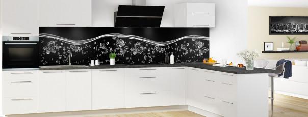 Crédence de cuisine Aqua et bulles Noir panoramique motif inversé en perspective