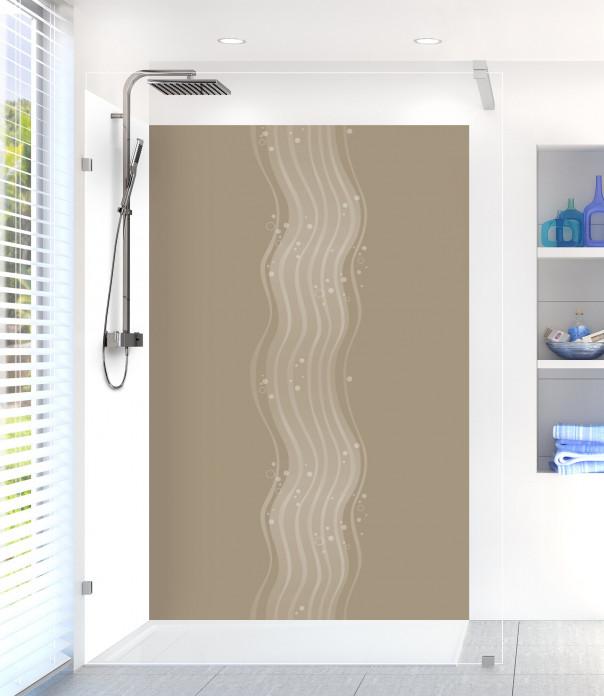 Panneau de douche Vagues design couleur marron glacé