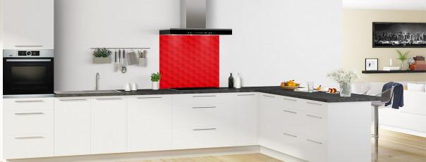 Crédence de cuisine Nid d'abeilles couleur rouge vif fond de hotte en perspective