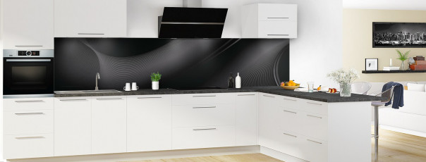 Crédence de cuisine Volute couleur noir panoramique en perspective