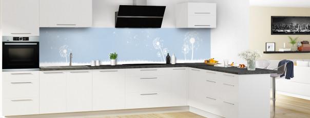 Crédence de cuisine Pissenlit au vent couleur bleu azur panoramique motif inversé en perspective