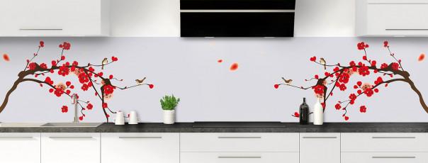 Crédence de cuisine Cerisier japonnais couleur gris clair panoramique motif inversé