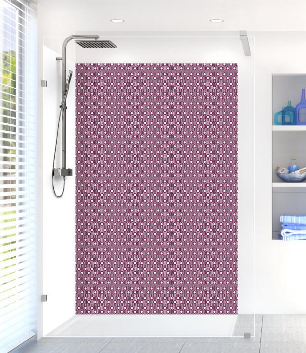 Panneau de douche Hexagones  couleur prune