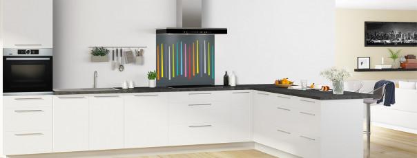 Crédence de cuisine Barres colorées couleur gris carbone fond de hotte en perspective