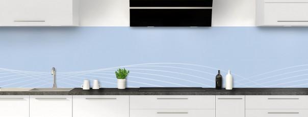 Crédence de cuisine Courbes couleur bleu azur panoramique motif inversé