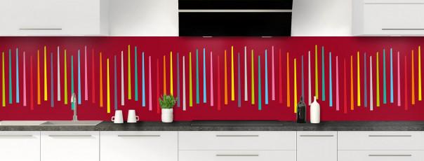 Crédence de cuisine Barres colorées couleur rouge carmin panoramique