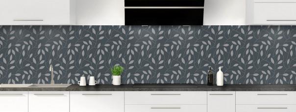Crédence de cuisine Rideau de feuilles couleur gris carbone panoramique
