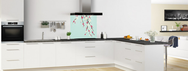 Crédence de cuisine Arbre fleuri couleur vert pastel fond de hotte en perspective