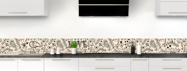 Crédence de cuisine Love illustration couleur sable dosseret