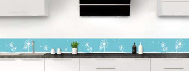 Crédence de cuisine Pissenlit au vent couleur bleu lagon dosseret motif inversé