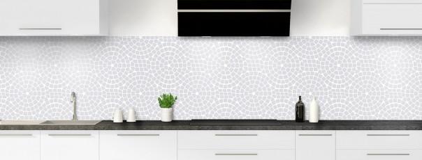 Crédence de cuisine Mosaïque cercles couleur gris clair panoramique