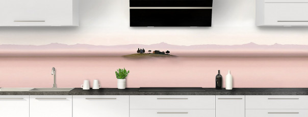Crédence de cuisine Brume rosée panoramique motif inversé