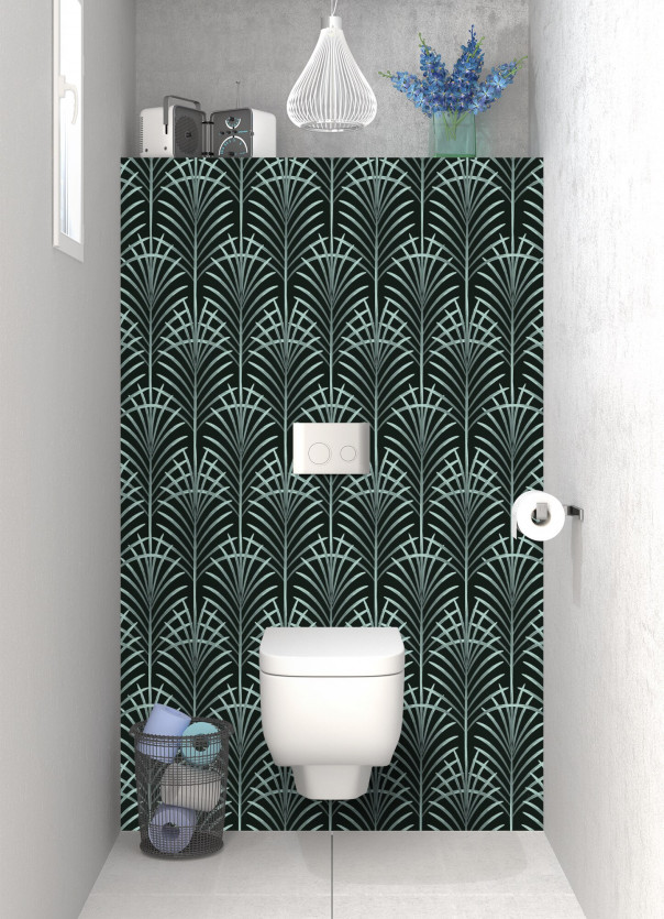 Panneau WC Feuilles de paume couleur vert pastel