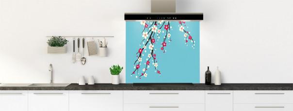 Crédence de cuisine Arbre fleuri couleur bleu lagon fond de hotte motif inversé