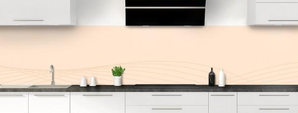 Crédence de cuisine Courbes couleur sable panoramique motif inversé