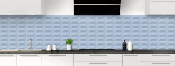 Crédence de cuisine Briques en relief couleur bleu azur panoramique