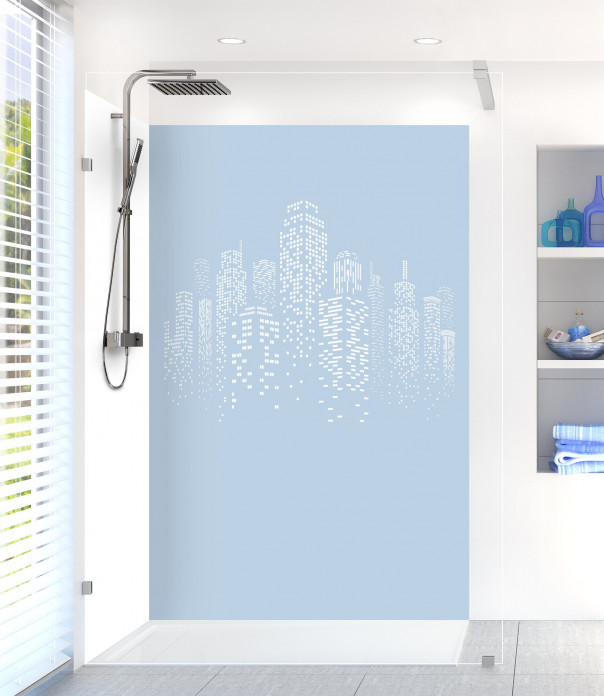 Panneau de douche Gratte-ciels couleur bleu azur