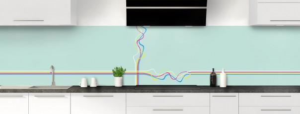 Crédence de cuisine Light painting couleur vert pastel panoramique