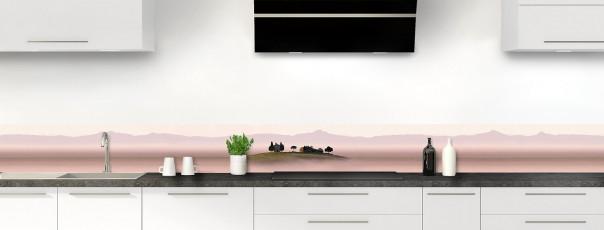 Crédence de cuisine Brume rosée dosseret motif inversé