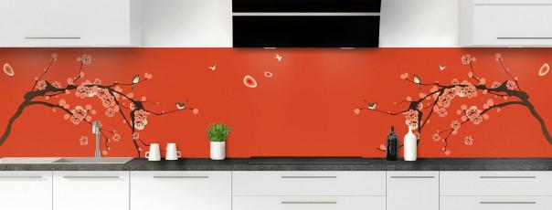Crédence de cuisine Cerisier japonnais couleur rouge brique panoramique