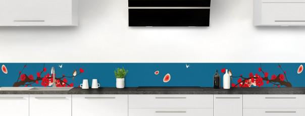 Crédence de cuisine Cerisier japonnais couleur bleu baltic dosseret motif inversé
