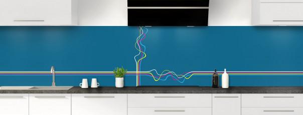 Crédence de cuisine Light painting couleur bleu baltic panoramique