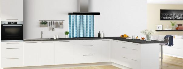 Crédence de cuisine Petites Feuilles Blanc couleur bleu baltic fond de hotte en perspective