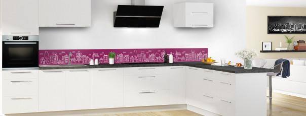 Crédence de cuisine Dessin de ville couleur prune dosseret en perspective