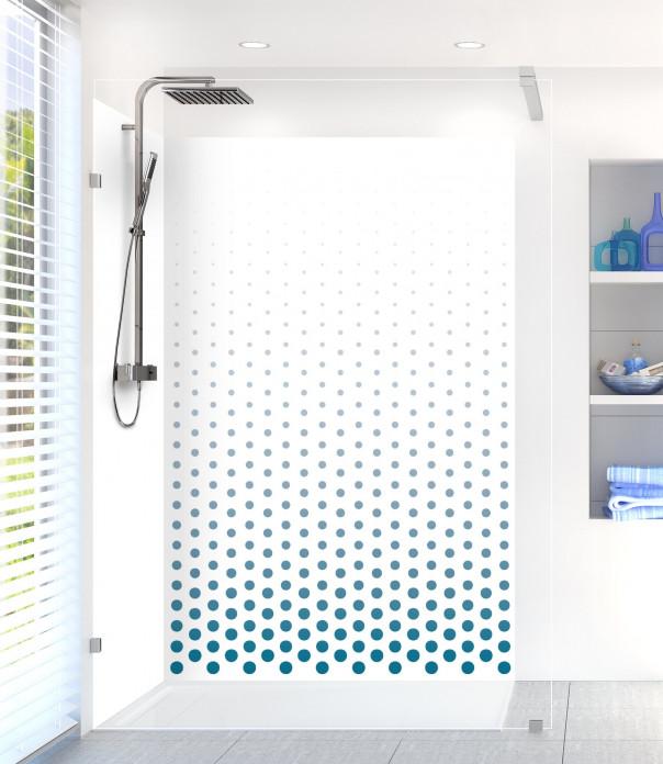 Panneau de douche Pluie de points couleur bleu baltic