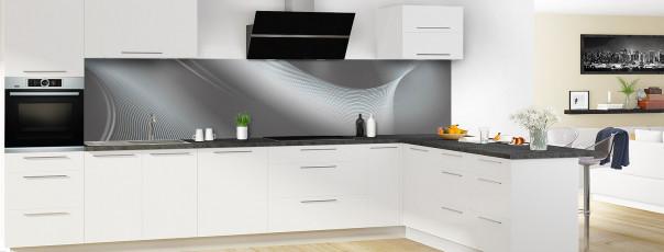 Crédence de cuisine Volute couleur gris carbone panoramique motif inversé en perspective