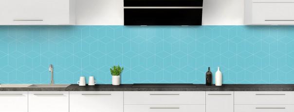 Crédence de cuisine Cubes en relief couleur bleu lagon panoramique